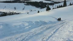 People sledding on horseback in Carpathians Stock Footage