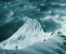 beautiful peak alpamayo in storm - stock photo