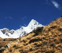 beautiful peak alpamayo - stock photo