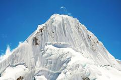 beautiful peak alpamayo in the cordilleras - stock photo