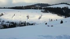Winter Carpathians landscape with people  sledding on horseback - stock footage