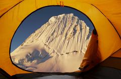 view on the alpamayo pean of tent - stock photo