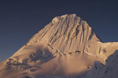 beautiful summit alpamayo on the sunset - stock photo