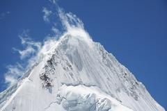 summit alpamayo in cordilleras mountain - stock photo