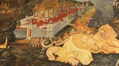 Wall painting at Grand Palace, Bangkok, Thailand. The painting is about Ramayana - stock footage
