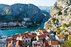Stock Photo of panorama of old pirate town of omis in croatia