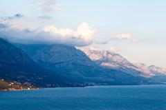 Adriatic sea and mountains near makarska, croatia Stock Photos