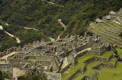 ruins in the lost city machu-picchu in peru - stock photo