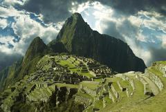 panorama on the city machu-picchu,peru - stock photo