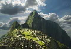 overview on machu-picchu city - stock photo