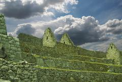 Building silhouette in the city machu-picchu,peru Stock Photos
