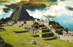 building in machu-picchu city - stock photo