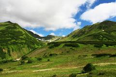 Green mountain on kamchatka Stock Photos