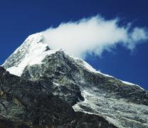 mountain peak and cloud - stock photo