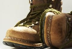 brown old boots - stock photo