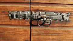 Old bolt on the wood gate Stock Photos