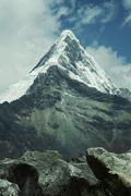 peak caraz  in cordilleras mountain - stock photo