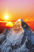 shivling peak on sunset - stock photo