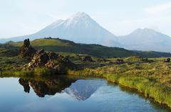 Volcano kluchevskoj and kamen on kamchatka Stock Photos