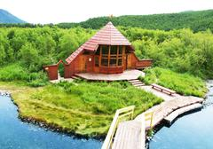 Woods house in kamchatkian reservation Stock Photos