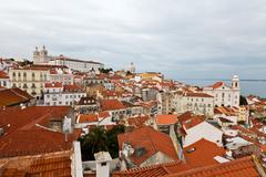 panorama of recently restored alfama quarter in lisbon, portugal - stock photo