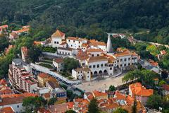 Sintra national palace near lisbon in portugal, view from above Stock Photos
