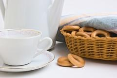 tea set and bagels - stock photo