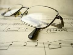 old glasses and music - stock photo