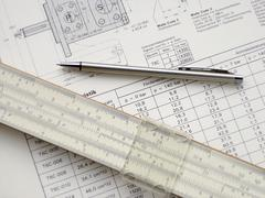 Technical drawing and pencil Stock Photos