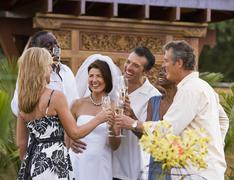 Multi-ethnic friends toasting newlyweds - stock photo