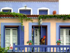 greek island colored house - stock photo