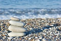 Stock Photo of pile of pebbles on the beach
