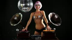Dj gramophone burlesque Stock Footage