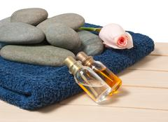 bottle with oil and aroma massage - stock photo