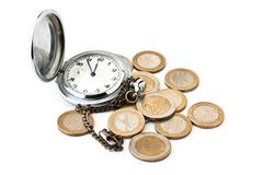 Stock Photo of pocket watches and coins
