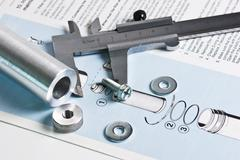 mechanical scheme and calipers - stock photo