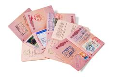 Stack of passports Stock Photos