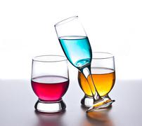 three glasses with drinks - stock photo