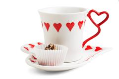 cup of tea and sweets - stock photo