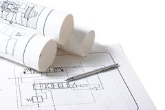 technical drawings - stock photo