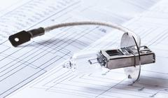halogen lamp and electric circuit - stock photo