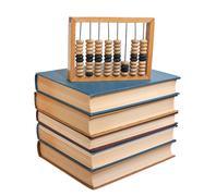 Wooden abacus on a pile of books Stock Photos