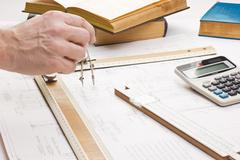 Old technical drawings Stock Photos