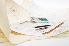 Technical drawings and slide rule Stock Photos