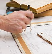 old technical drawings - stock photo