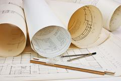 old architectural drawing - stock photo