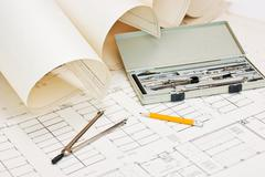 Stock Photo of technical drawings and slide rule