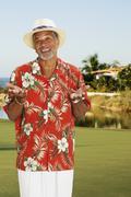 African man wearing Hawaiian shirt Stock Photos