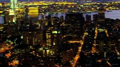 Aerial illuminated view downtown Manhattan, New York, USA Stock Footage