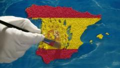Spain map - artist Stock Footage